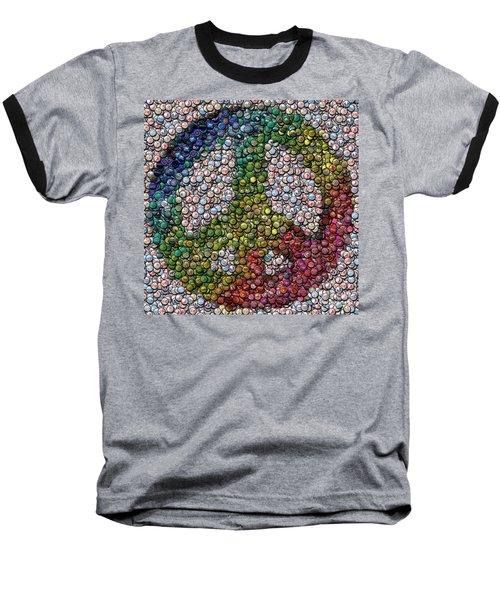 Baseball T-Shirt featuring the digital art Peace Sign Bottle Cap Mosaic by Paul Van Scott