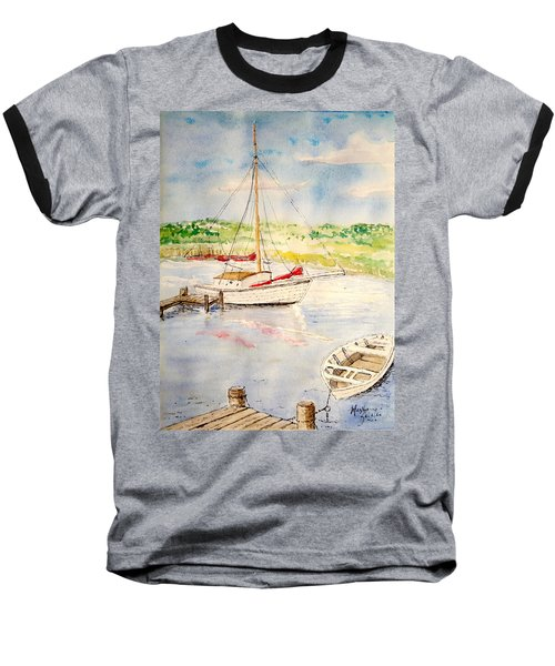 Peaceful Harbor Baseball T-Shirt by Marilyn Zalatan