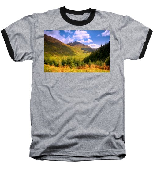 Peaceful Sunny Day In Mountains. Rest And Be Thankful. Scotland Baseball T-Shirt by Jenny Rainbow