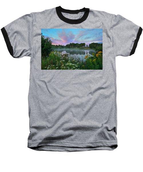 Peaceful Sunrise At Lake. Altai Baseball T-Shirt