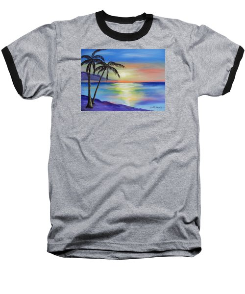 Peaceful Sunset Baseball T-Shirt by Luis F Rodriguez