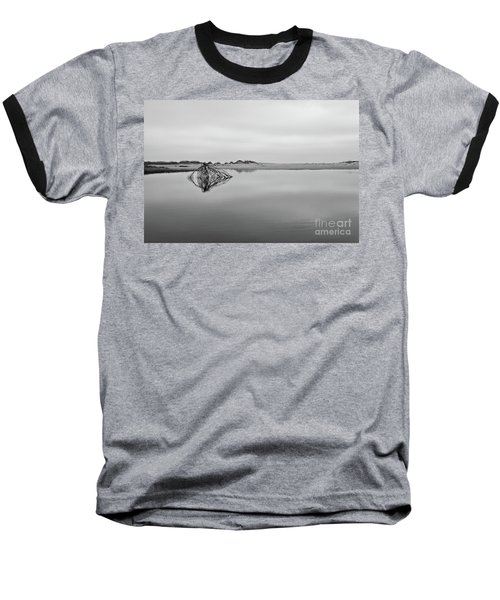 Baseball T-Shirt featuring the photograph Peaceful Tidepool On The Outer Banks Bw by Dan Carmichael