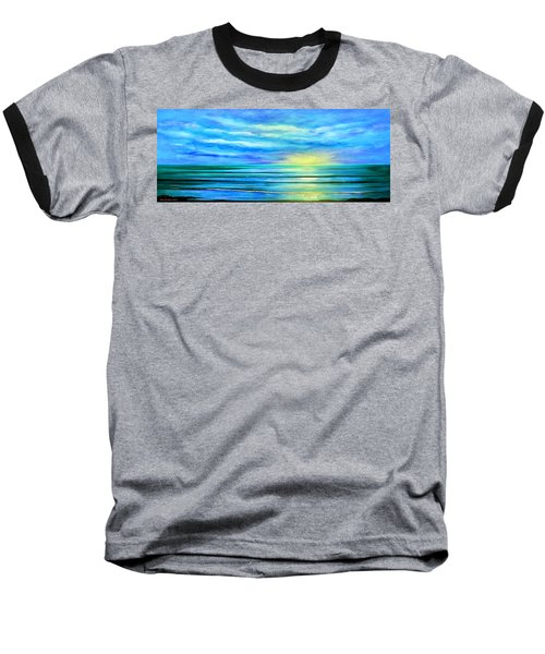 Peacefully Blue - Panoramic Sunset Baseball T-Shirt