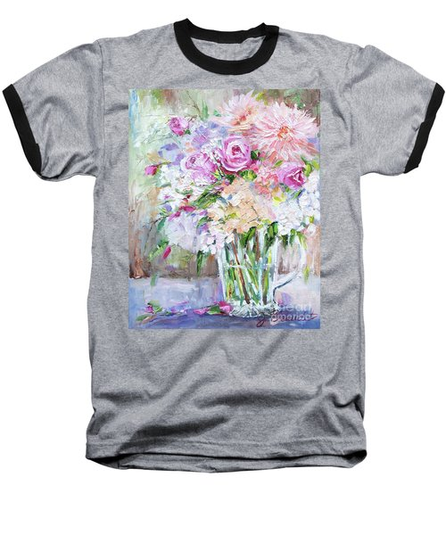 Baseball T-Shirt featuring the painting Peach And Pink Bouquet by Jennifer Beaudet