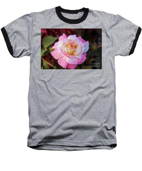 Peach And White Rose Baseball T-Shirt