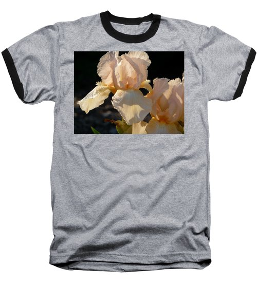 Peach Bearded Iris Baseball T-Shirt