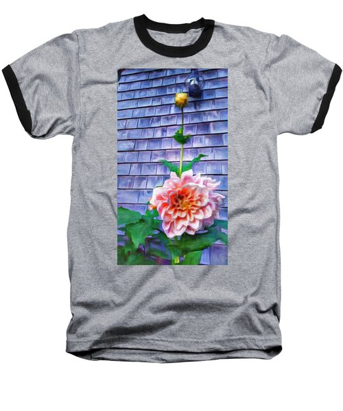 Peach Dahlia In Oil Baseball T-Shirt