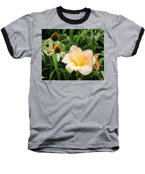Peach Day Lily Baseball T-Shirt
