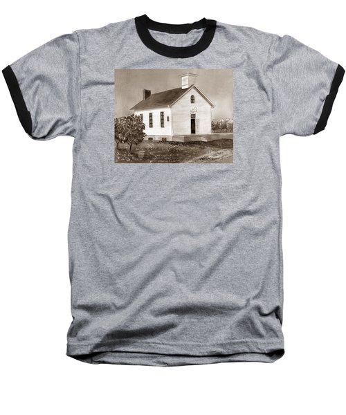 Peach Grove School Sepia Baseball T-Shirt by LeAnne Sowa