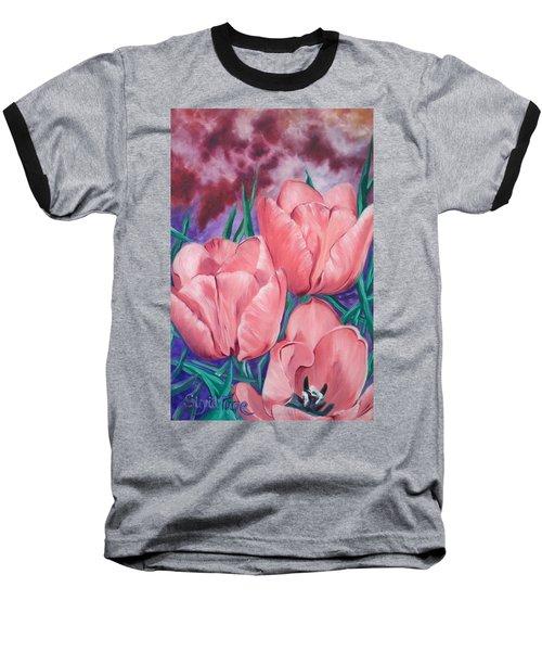 Perennially Perfect  Peach Pink Tulips Baseball T-Shirt