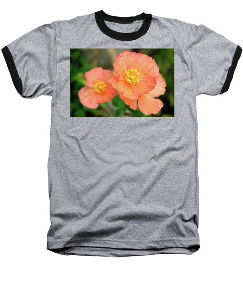 Peach Poppies Baseball T-Shirt by Sally Weigand
