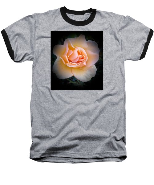 Peach Rose  Baseball T-Shirt by Veronica Rickard