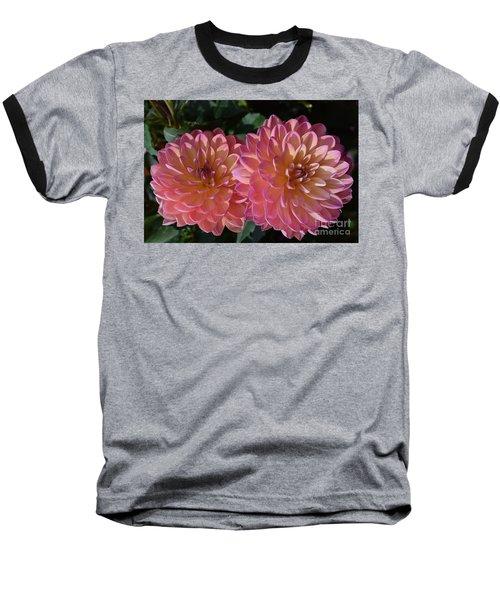 Peachy Dahlias Baseball T-Shirt