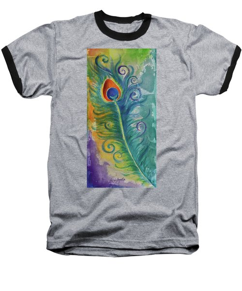 Peacock Feather Mural Baseball T-Shirt