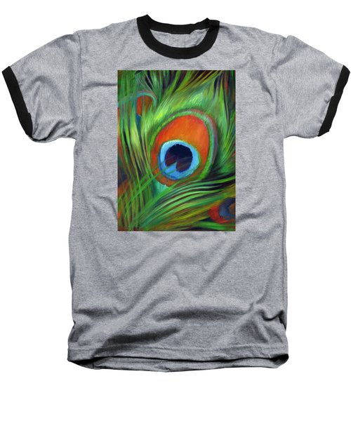 Peacock Feather Baseball T-Shirt by Nancy Tilles