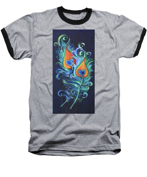 Peacock Feathers Baseball T-Shirt