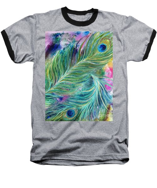 Peacock Feathers Bright Baseball T-Shirt by Denise Hoag