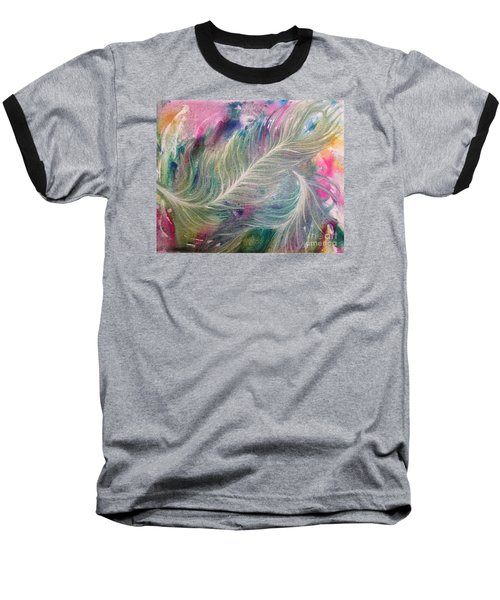 Peacock Feathers Pastel Baseball T-Shirt by Denise Hoag