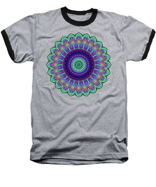 Peacock Fractal Flower 5 Baseball T-Shirt
