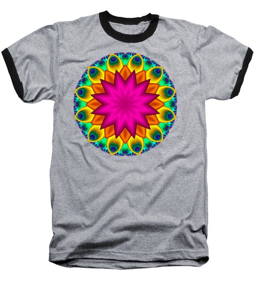 Peacock Fractal Flower I Baseball T-Shirt