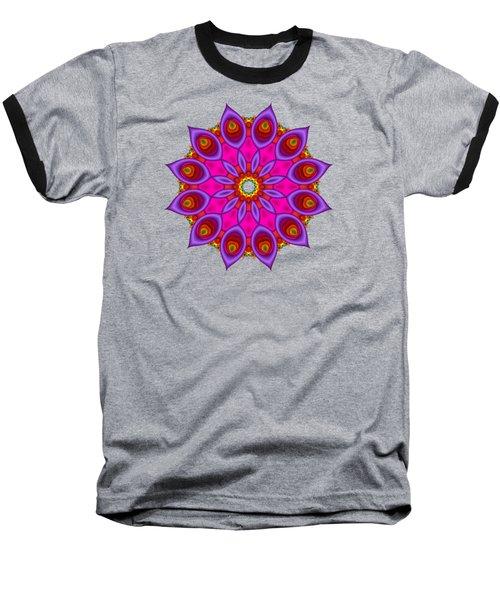 Peacock Fractal Flower II Baseball T-Shirt