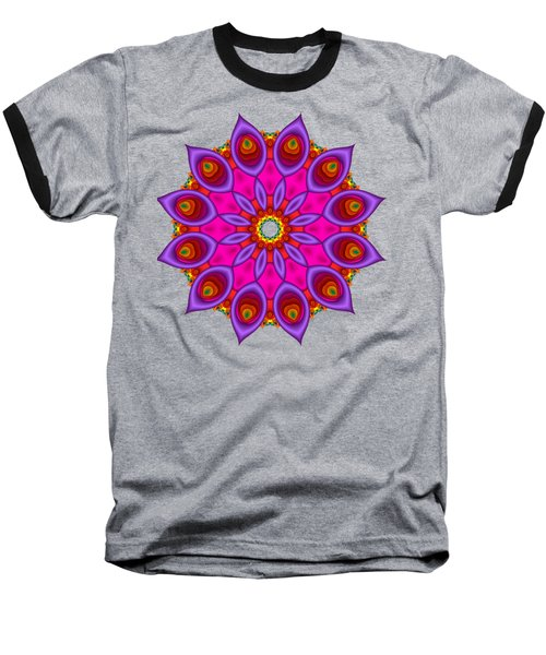 Peacock Fractal Flower II Baseball T-Shirt