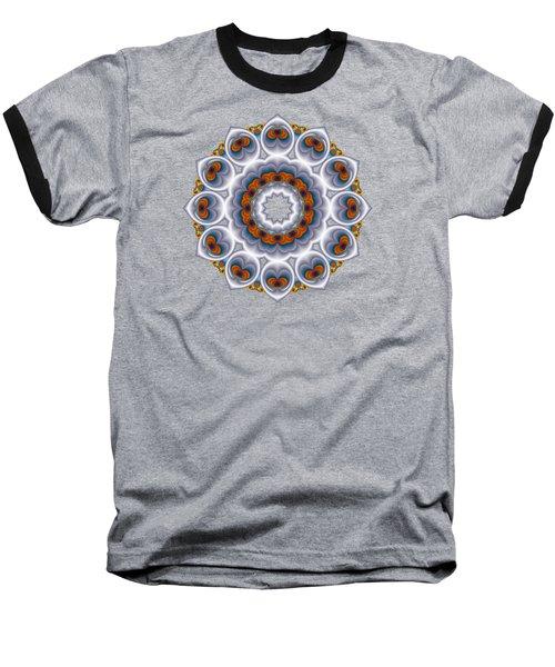 Peacock Fractal Snow Flower Baseball T-Shirt