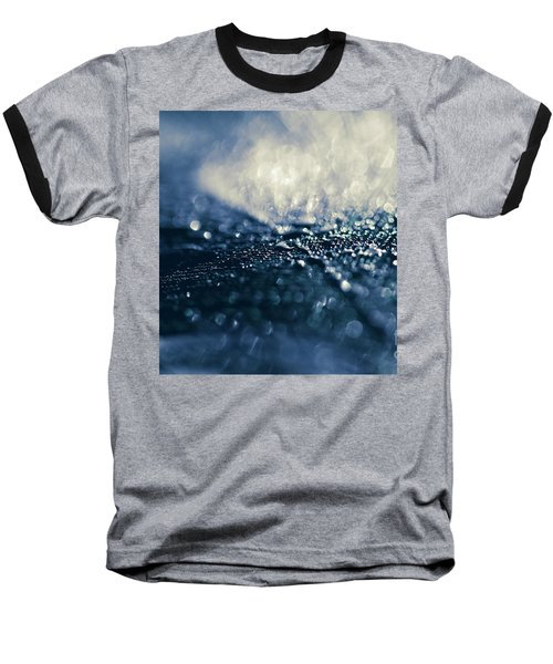 Baseball T-Shirt featuring the photograph Peacock Macro Feather And Waterdrops by Sharon Mau