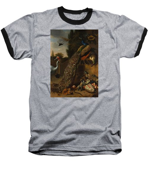 Baseball T-Shirt featuring the painting Peacocks by Melchior d'Hondecoeter