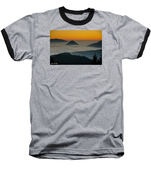 Peaks Above The Fog At Sunset Baseball T-Shirt by Jeff Goulden