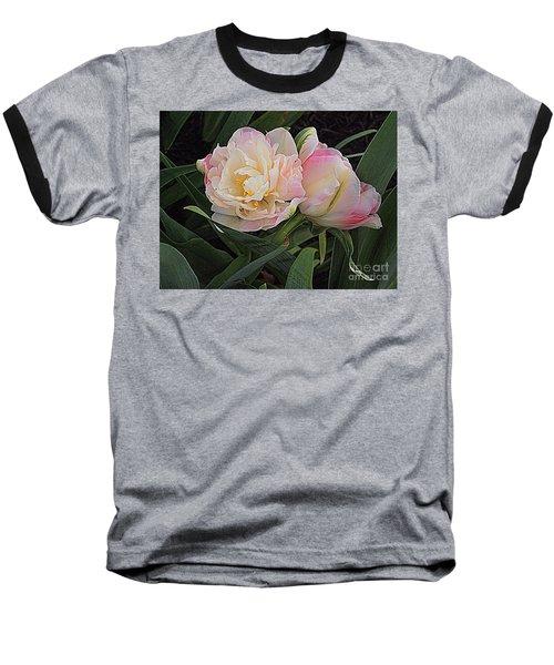 Baseball T-Shirt featuring the photograph Peony Tulip Duet by Nancy Kane Chapman