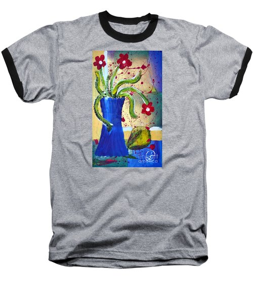 Pear And Red Flowers Baseball T-Shirt by Lynda Cookson
