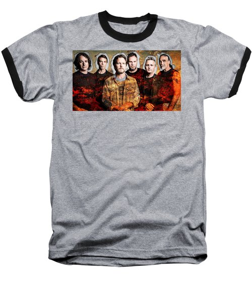 Baseball T-Shirt featuring the mixed media Pearl Jam by Marvin Blaine
