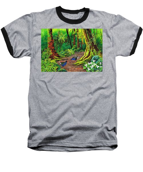 Baseball T-Shirt featuring the painting Pecking Pukekos by Val Stokes