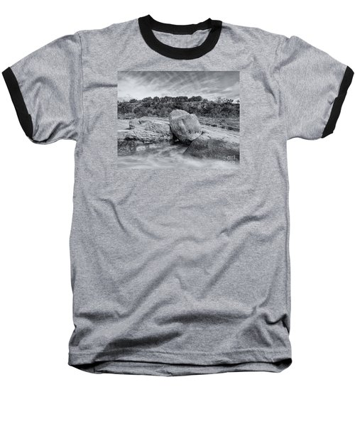 Pedernales River Falls In Black And White - Texas Hill Country Baseball T-Shirt
