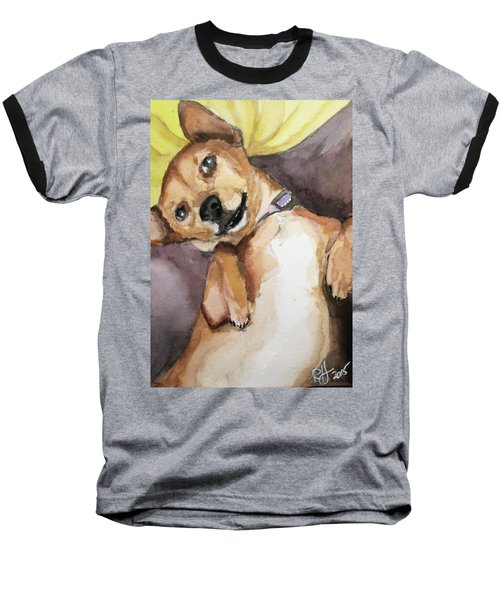 Baseball T-Shirt featuring the painting Pedro The Chi-weenie by Rachel Hames