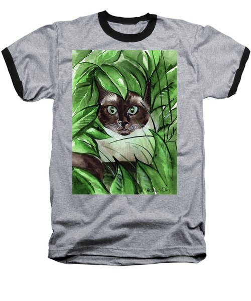 Baseball T-Shirt featuring the painting Peek A Boo Siamese Cat by Dora Hathazi Mendes