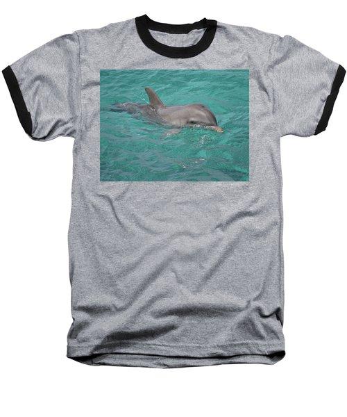 Peeking Dolphin Baseball T-Shirt