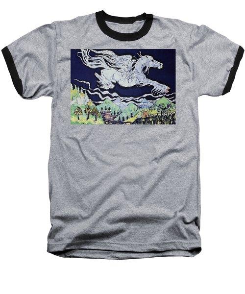Pegasus Flying Over Stream Baseball T-Shirt