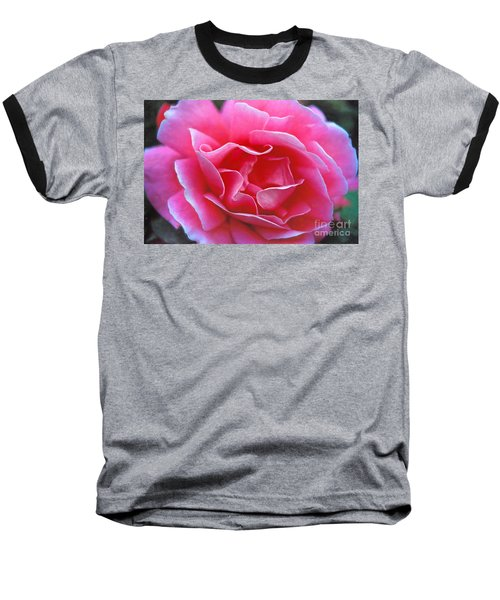 Baseball T-Shirt featuring the photograph Peggy Lee Rose Bridal Pink by David Zanzinger
