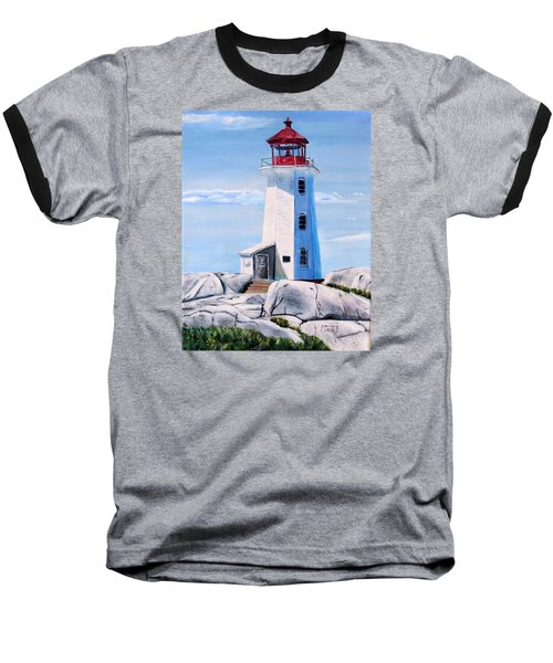 Baseball T-Shirt featuring the painting Peggy's Cove Lighthouse by Marilyn  McNish