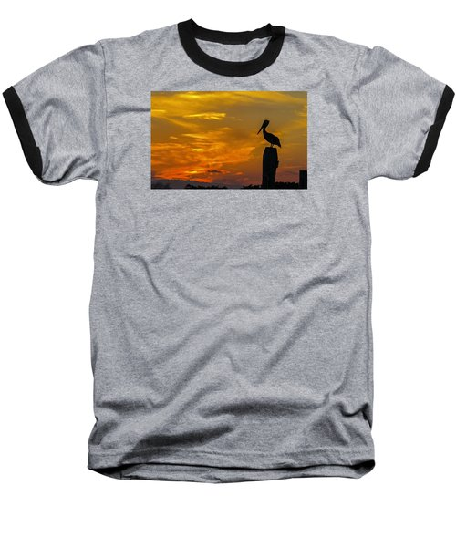 Pelican At Silver Lake Sunset Ocracoke Island Baseball T-Shirt by Greg Reed