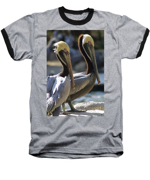 Baseball T-Shirt featuring the photograph Pelican Duo by Dodie Ulery