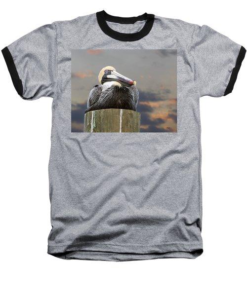 Pelican Perch Baseball T-Shirt by Betty Denise