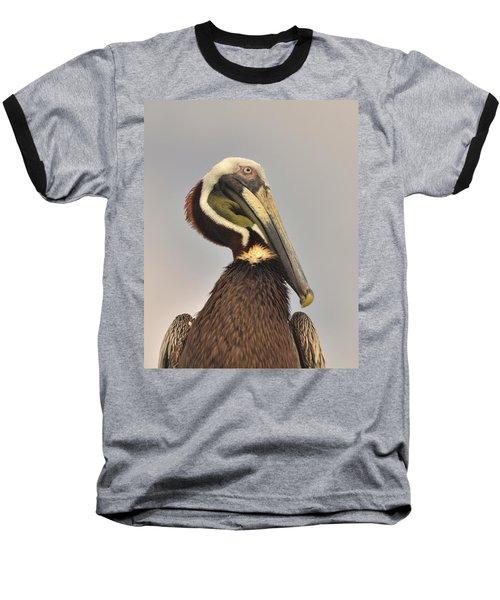 Pelican Portrait Baseball T-Shirt by Nancy Landry