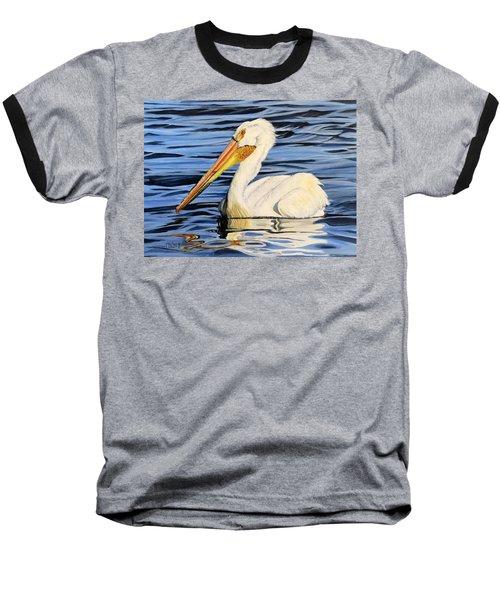 Pelican Posing Baseball T-Shirt by Marilyn McNish