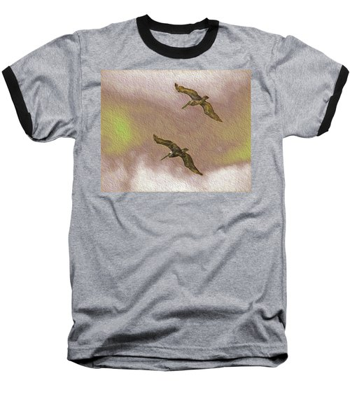 Pelicans On Cave Wall Baseball T-Shirt
