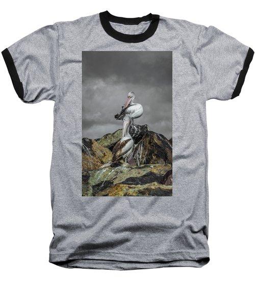Pelicans On Rocks Baseball T-Shirt