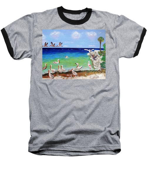 Baseball T-Shirt featuring the painting Pelicans by Vicky Tarcau