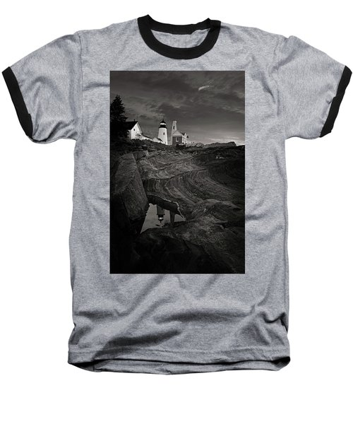 Pemaquid Lighthouse At Dawn Black And White Baseball T-Shirt